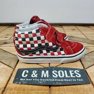 Vans Old Skool V Red/White/Black Checker Toddler